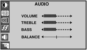 To adjust the audio function OSD Adjust Description VOLUME TREBLE BASS BALANCE To decrease or
