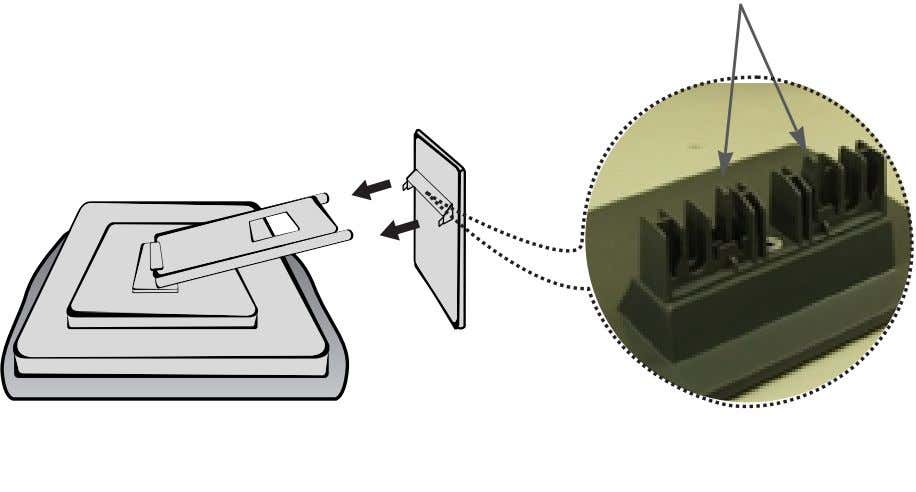 base of the monitor. 2. Insert the hooks into slots. Hook Important This illustration depicts the