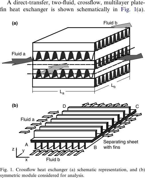 A direct-transfer, two-fluid, crossflow, multilayer plate- fin heat exchanger is shown schematically in Fig. 1(a).
