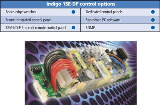 Indigo 1SE-DP control options Board edge switches Frame integrated control panel REMIND-E Ethernet remote control panel