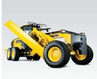 radius is short, and provides excellent maneu- verability. Aggressive moldboard angles Komatsu graders feature a