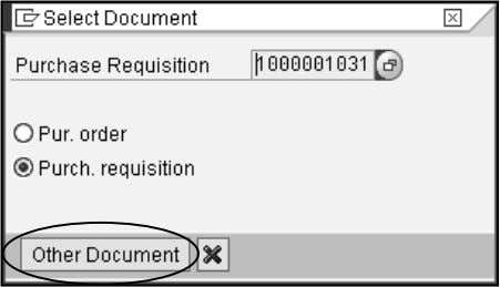 "Purchase Requisition Click the ""Other document"" icon. There are three sections to the Purchase Requisition."
