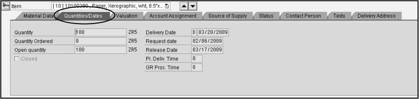 record. You can view the quantity, quantity ordered, open quantity, delivery date, req. date and release