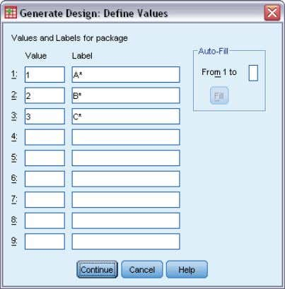 to select holdout cases. Defining Values for an Orthogonal Design Figure 2-2 Generate Design Define Values