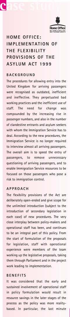 case study HOME OFFICE: IMPLEMENTATION OF THE FLEXIBILITY PROVISIONS OF THE ASYLUM ACT 1999 BACKGROUND