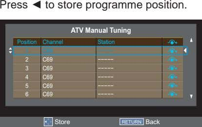 Press to store programme position. ATV Manual Tuning Position Channel Station 1 C69 −−−−− 2