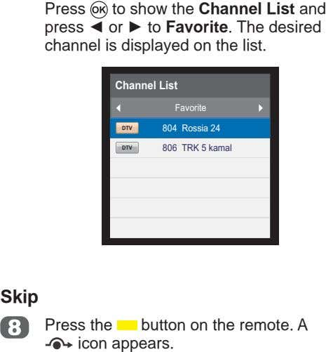 Press to show the Channel List and press or to Favorite. The desired channel is
