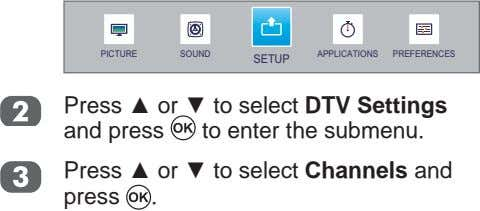 PICTURE SOUND APPLICATIONS PREFERENCES SETUP Press or to select DTV Settings and press to enter