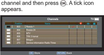 channel and then press appears. . A tick icon Channels TV Position Name 803 Rossia