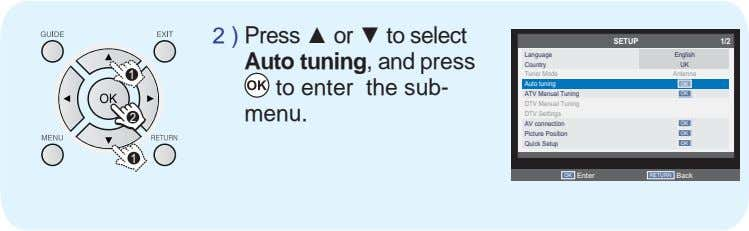 2 ) Press or to select SETUP 1/2 Language English Auto tuning, and press Country