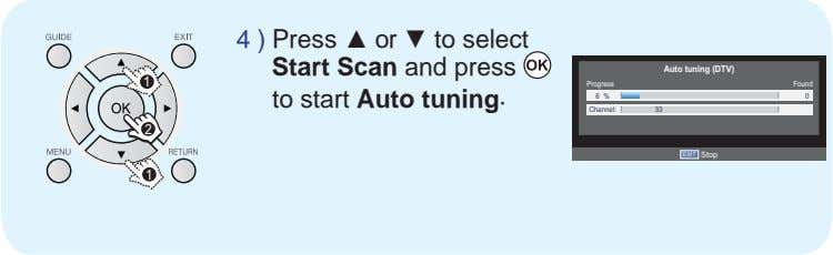 4 ) Press or to select Start Scan and press Auto tuning (DTV) 1 Progress