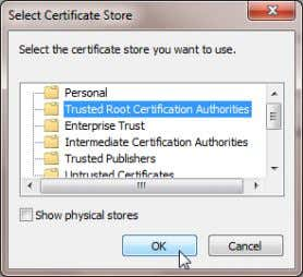 Store page, select Trusted Root Certificate Authorities . 7. Click OK . 8. Click Next and