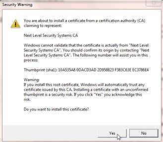 Certificate, click Yes in the Security Warning page if it appears. © 2009-2012 Next Level Security