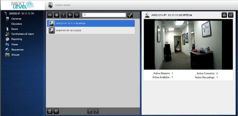 list of discovered cameras, RTSP and HTTP video streams is displayed. © 2009-2012 Next Level Security