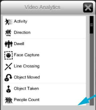 The Video Analytics options pop-up menu is displayed. { 4. Click the desired video analytic. The