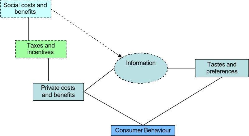 incentives Taxes and Information Consumer Behaviour Social costs and benefits Private costs and benefits Tastes and