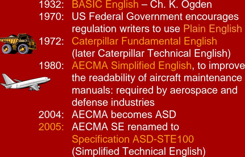 1932: 1970: 1972: 1980: BASIC English – Ch. K. Ogden US Federal Government encourages regulation