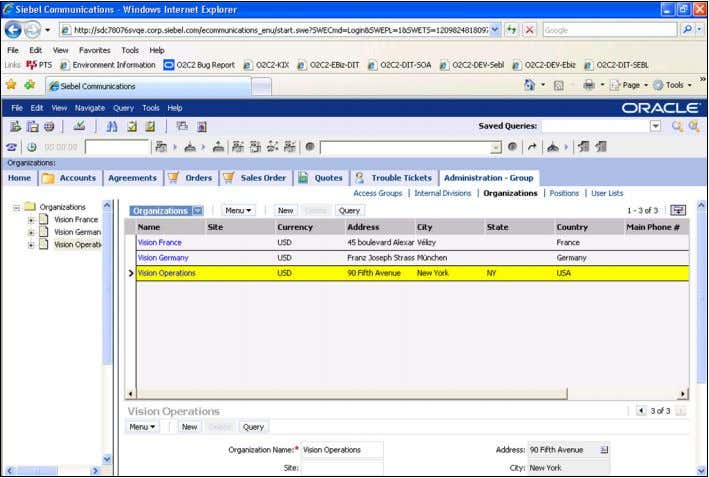 "create the same in Siebel CRM. Here is a screen shot: ""Administration – Group"" View tab"