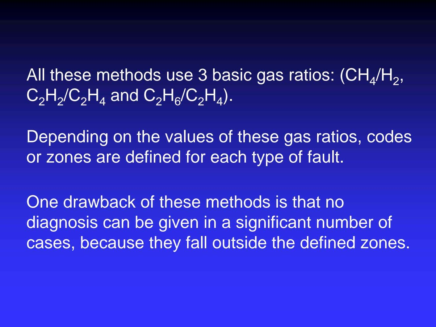 All these methods use 3 basic gas ratios: (CH 4 /H 2 , C 2