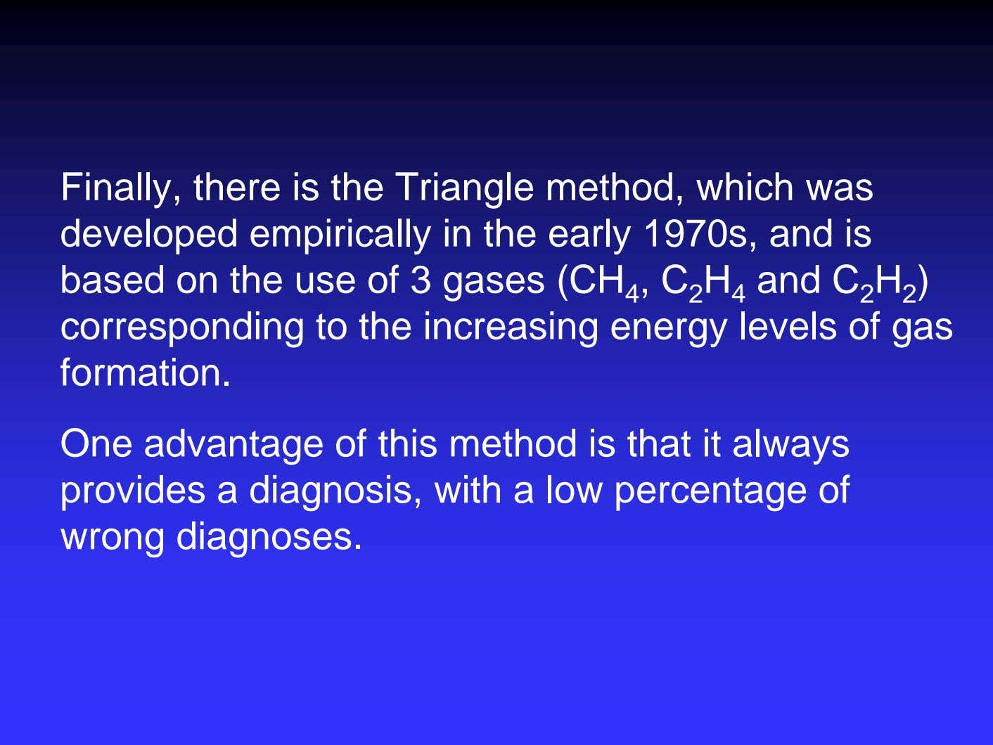 Finally, there is the Triangle method, which was developed empirically in the early 1970s, and