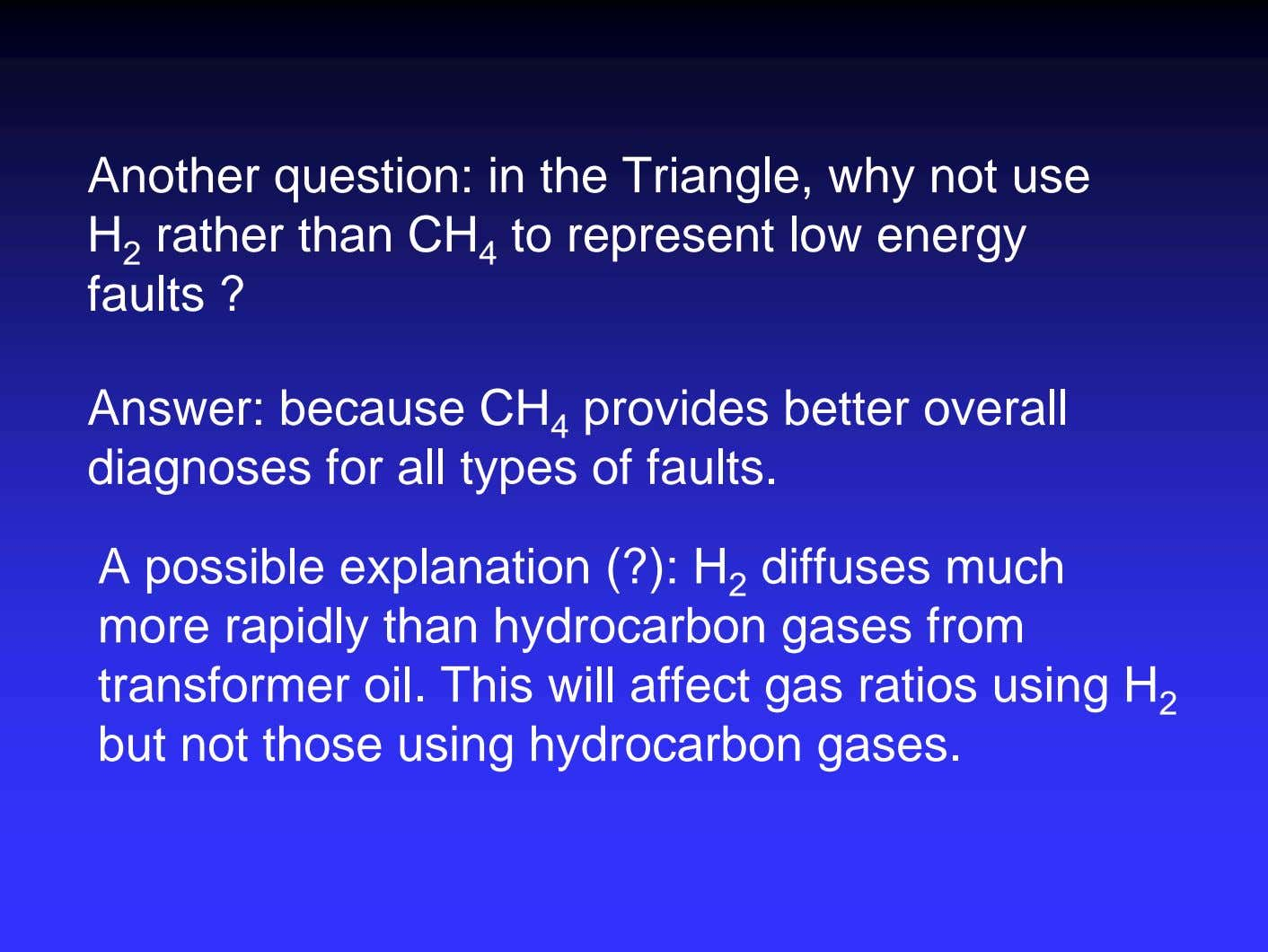Another question: in the Triangle, why not use H 2 rather than CH 4 to