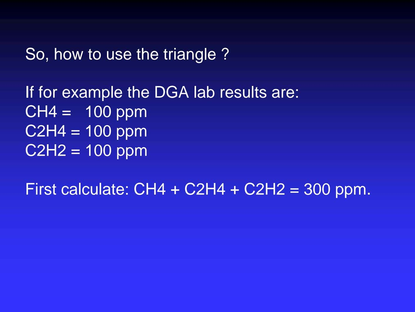 So, how to use the triangle ? If for example the DGA lab results are: