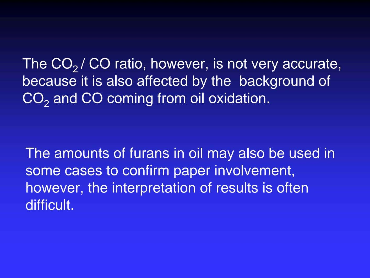 The CO 2 / CO ratio, however, is not very accurate, because it is also