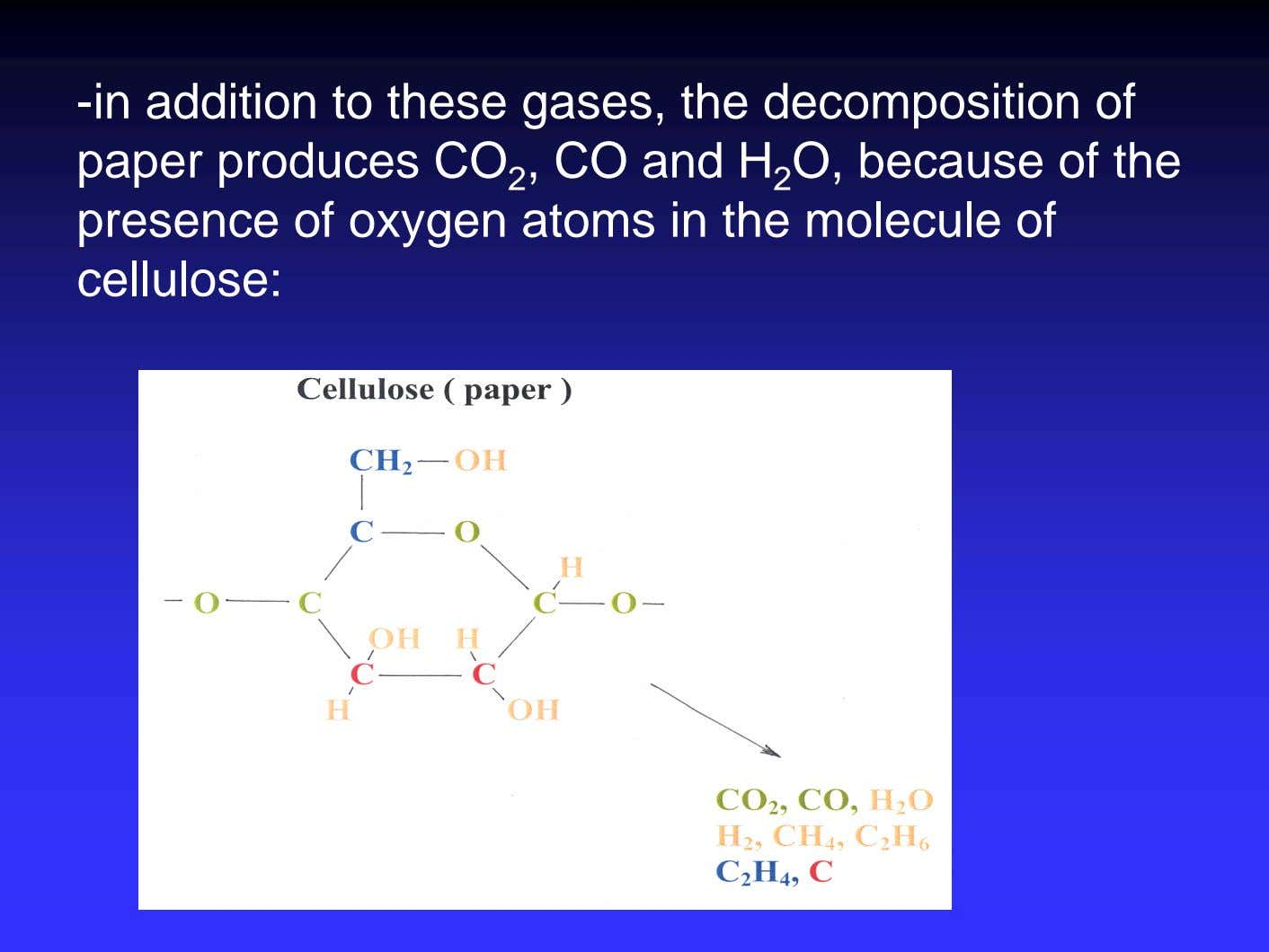 -in addition to these gases, the decomposition of paper produces CO 2 , CO and