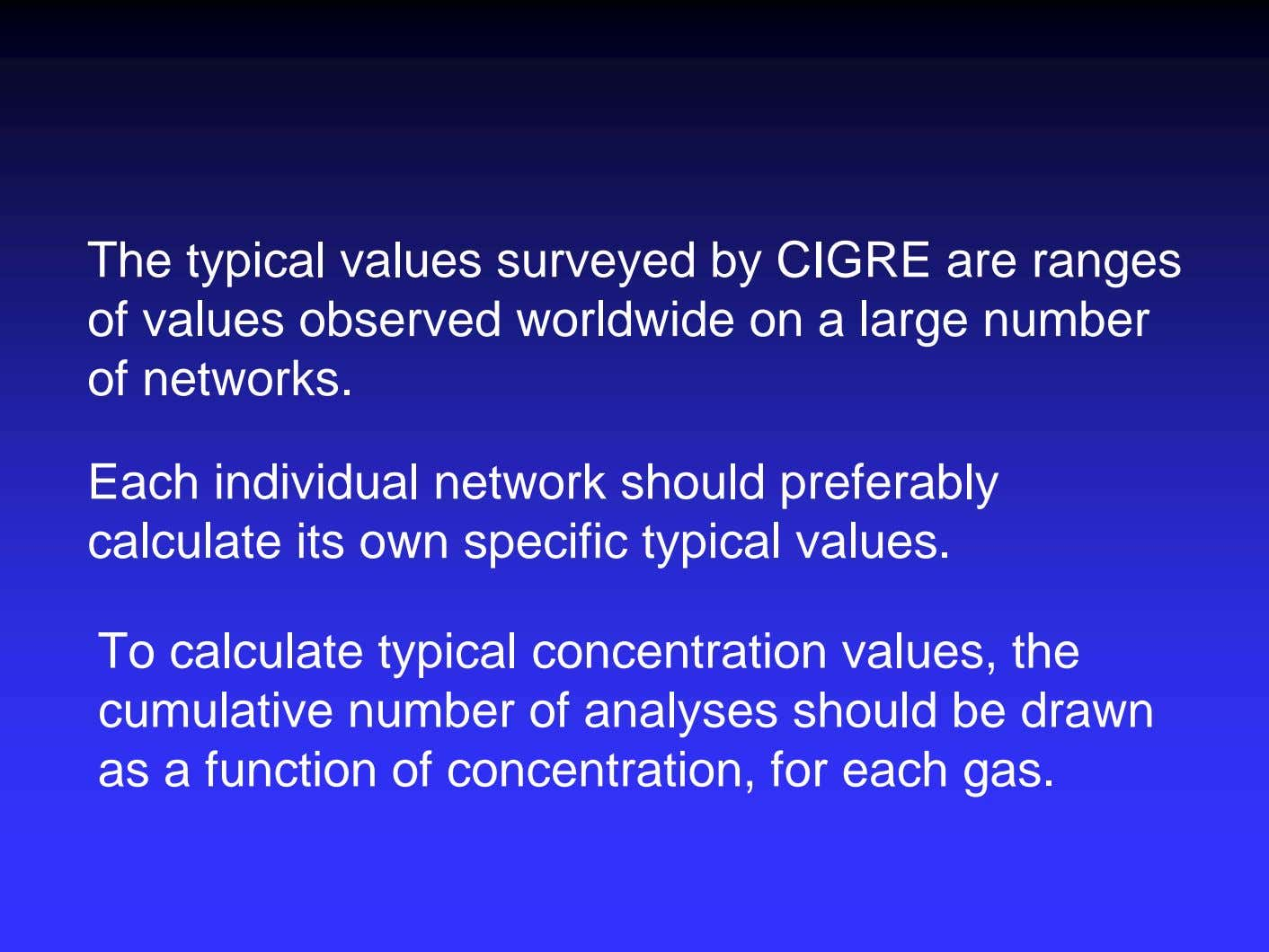 The typical values surveyed by CIGRE are ranges of values observed worldwide on a large