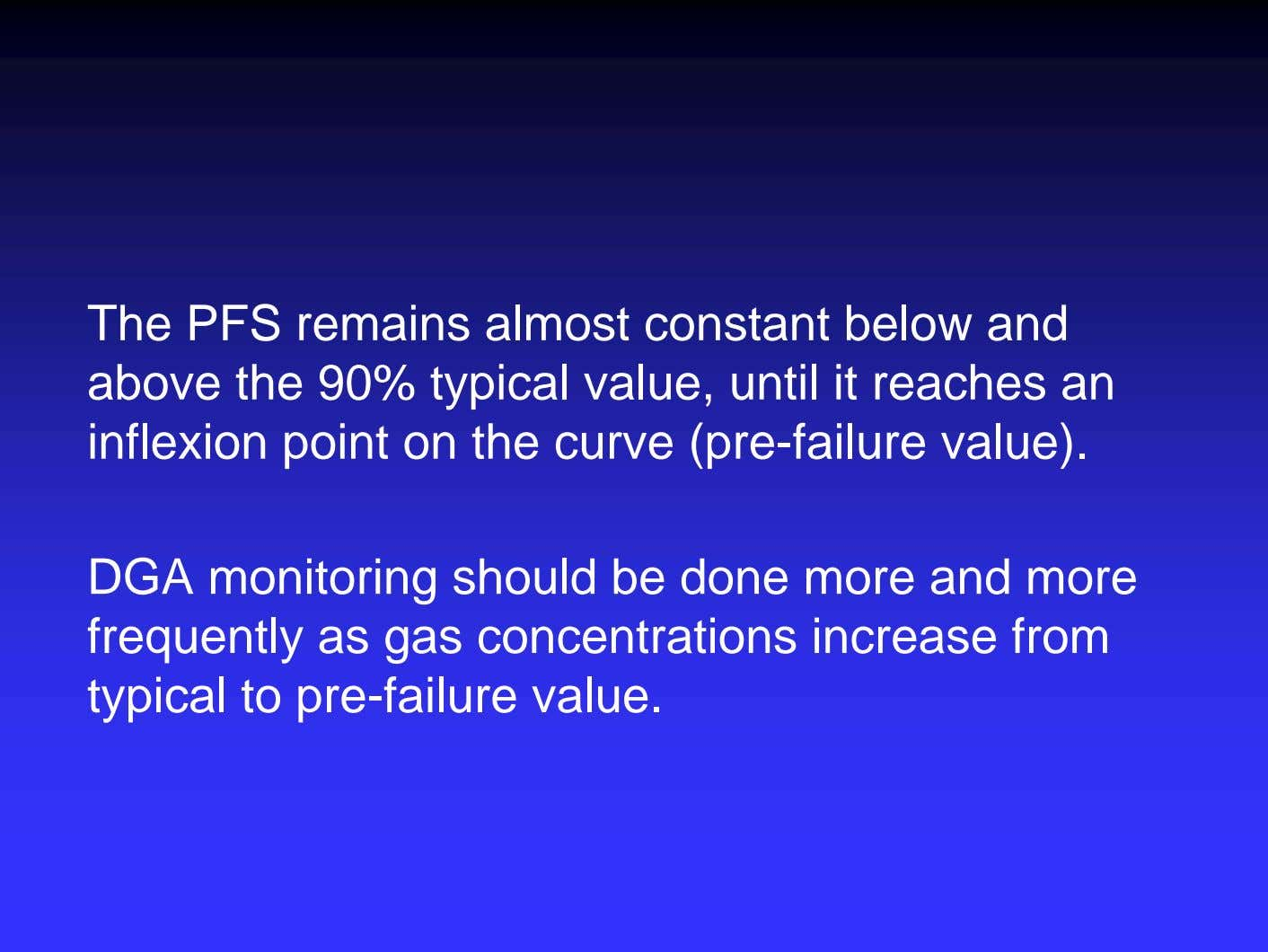 The PFS remains almost constant below and above the 90% typical value, until it reaches