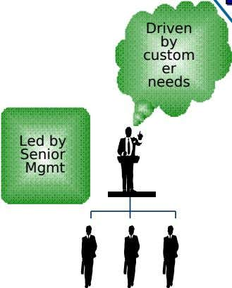 Driven by custom er needs Led by Senior Mgmt