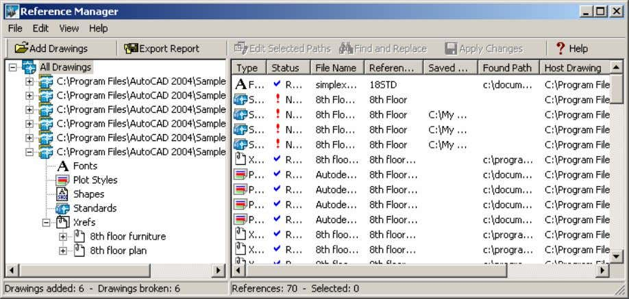 AutoCAD 2004 Preview Guide Figure 27. Reference Manager Reference Manager Functionality AutoCAD 2004 greatly improves the