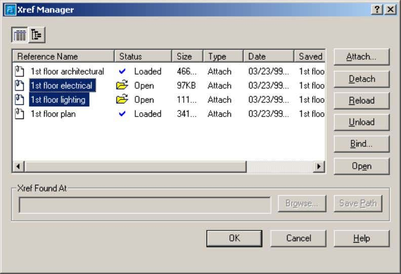 AutoCAD 2004 Preview Guide Figure 28. Xref Manager with files selected to open The Xref Manager