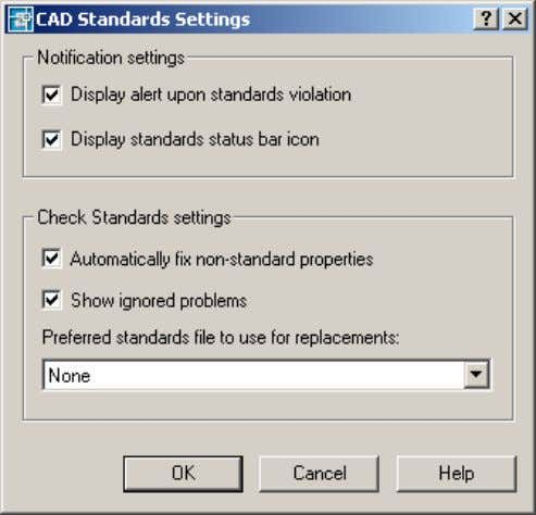 an alert and a status bar icon upon standards violation. Figure 33. CAD Standards Settings dialog