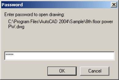 AutoCAD 2004 Preview Guide Figure 39. Password dialog box presented upon opening IMPORTANT! If a