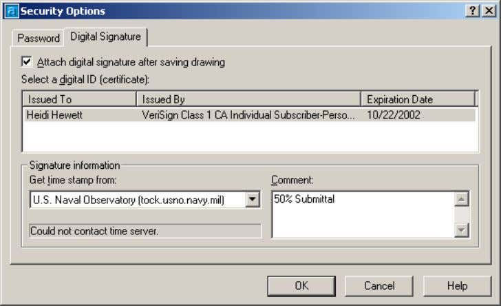 AutoCAD 2004 Preview Guide Figure 41. Digital Signature tab In addition to selecting a digital signature,