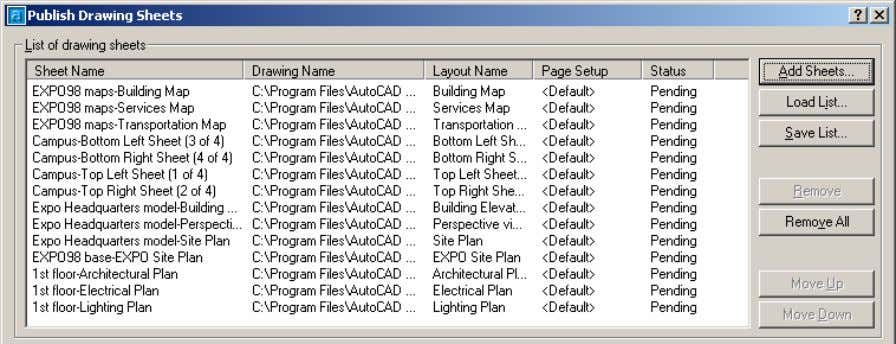 AutoCAD 2004 Preview Guide Figure 45. Top portion of Publish Drawing Sheets dialog box You can