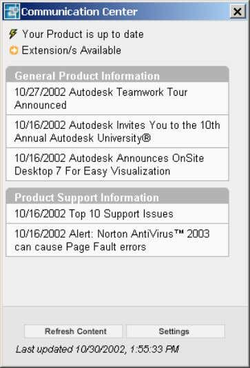 Figure 54. Communication Center dialog box AutoCAD 2004 Preview Guide Access the Communication Center using