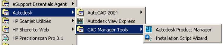 Tools can be accessed from the start menu under Autodesk. Figure 65. Accessing the CAD Manager