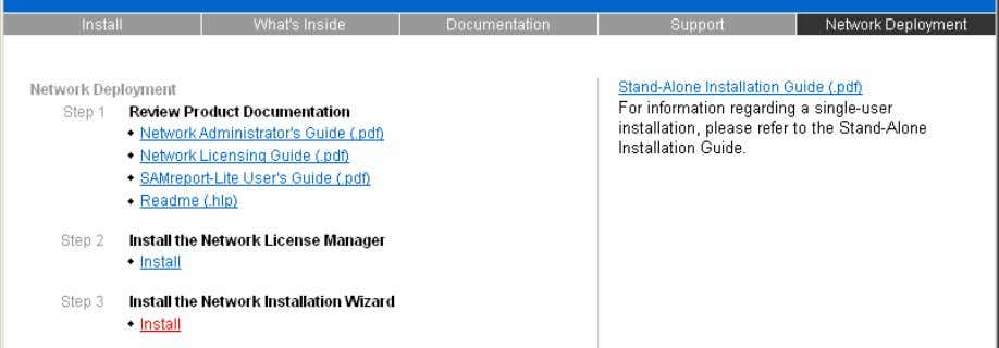 Deployment page of the AutoCAD 2004 installation menu. Figure 67. Installing the Network Installation Wizard Once