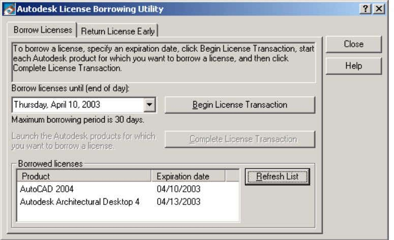 AutoCAD 2004 Preview Guide Figure 75. Autodesk License Borrowing Utility When the time expires, the license