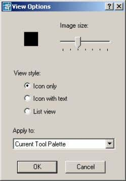 Figure 5. View Options dialog box AutoCAD 2004 Preview Guide Creating Tool Palettes You can