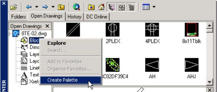 AutoCAD 2004 Preview Guide Figure 11. Creating tool palettes with DesignCenter DesignCenter Online provides access to