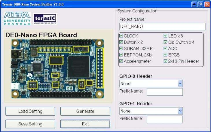 the pin name, pin location, pin direction, and I/O standard. GPIO Expansion Figure 5-4 System Configuration