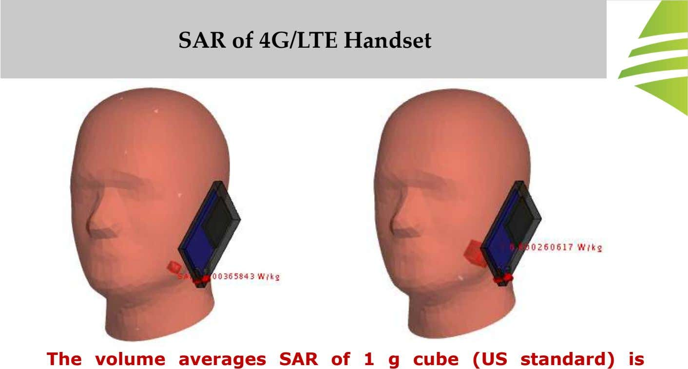 SAR of 4G/LTE Handset The volume averages SAR of 1 g cube (US standard) is