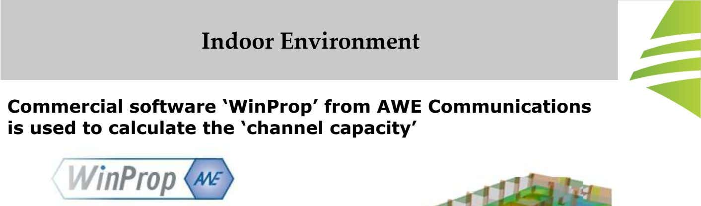 Indoor Environment Commercial software 'WinProp' from AWE Communications is used to calculate the 'channel capacity'
