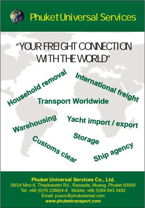 "Phuket Universal Services International freight ""YOUR FREIGHT CONNECTION WITH THE WORLD"" TransportTransport"