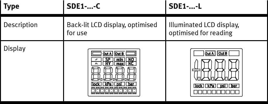 Type SDE1- -C SDE1- -L Description Back-lit LCD display, optimised for use Illuminated LCD display,