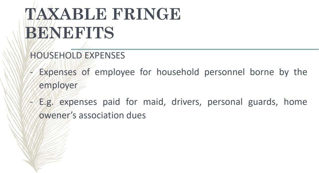 TAXABLE FRINGE BENEFITS HOUSEHOLD EXPENSES - Expenses of employee for household personnel borne by the employer
