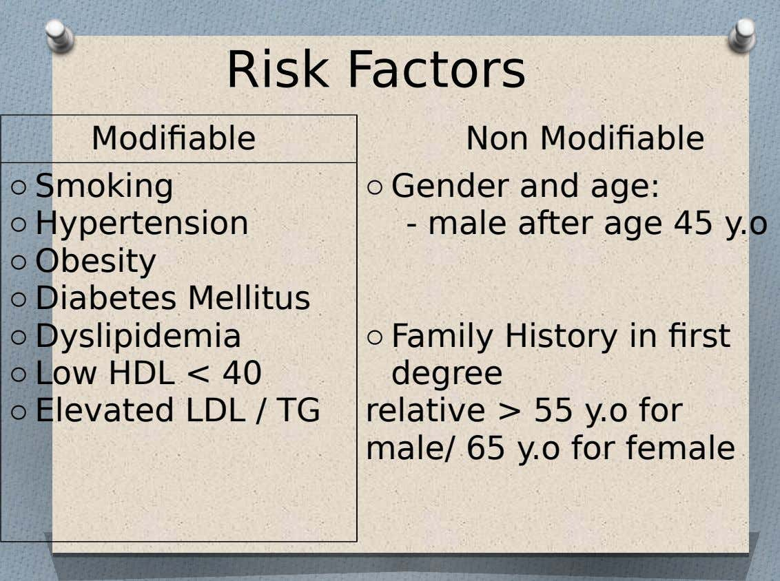 Risk Factors Modifiable Non Modifiable o Smoking o Hypertension o Obesity o Diabetes Mellitus o Dyslipidemia